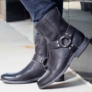 Frye Phillip Harness Short Leather Cute Ankle Boot